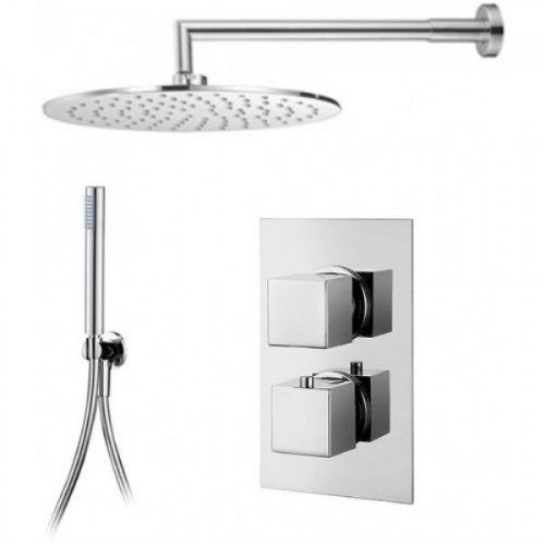 Abacus Emotion Thermostatic Square Concealed Shower Mixer Round Head And Slimline Handset Chrome